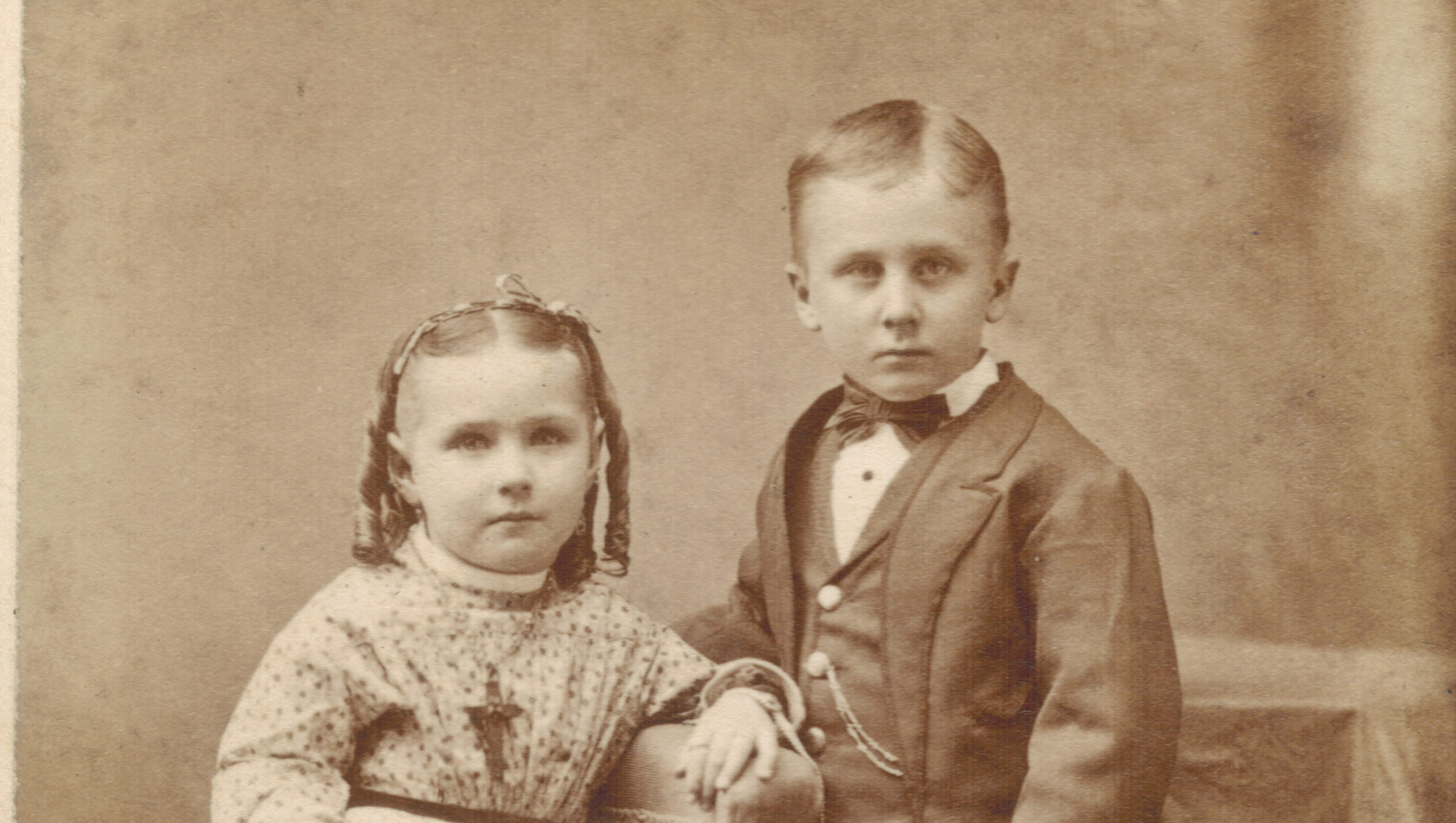 old-fashioned sepia photo of kids